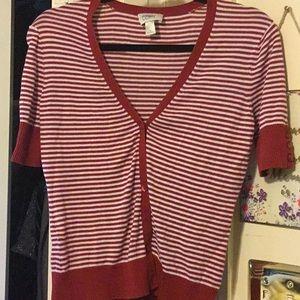 Button Down Striped Cardigan